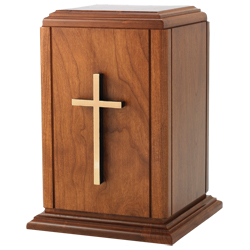 Urn - Wood with Cross