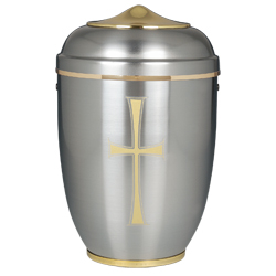 Urn - Silver with Gold Cross