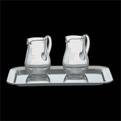 Cruets, Crystal, pair, 4 oz, with stainless tray