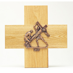 Stations of the Cross, 1-14, Gold Plated, Mounted on Oak Crosses