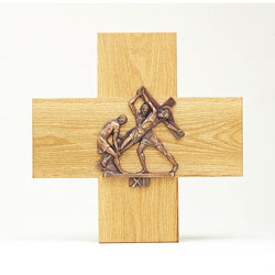 Stations of the Cross, 1-14, Bronze, Mounted on Oak Crosses