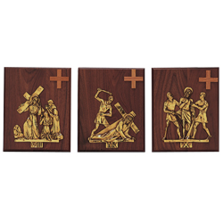 Stations of the Cross | 24kt Gold Plated Mounted | Set of 14