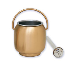 Holy Water Pot and Sprinkler, Satin Bronze