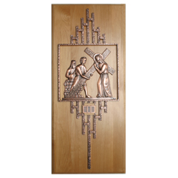 Stations of the Cross, 1-14, mounted on Red Alder wood