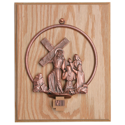 Stations of the Cross, 1-14, mounted on Oak Plaques