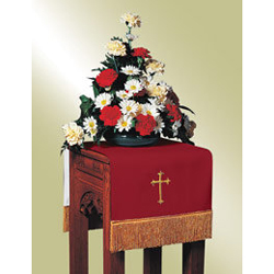 Flower Stand Cover, Red/White w/Cross