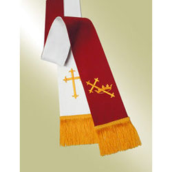 Reversible Pavillion Pulpit Stole, Red/White with Cross & Crown
