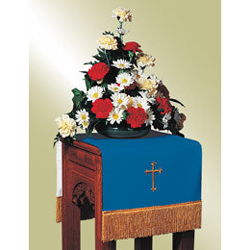 Flower Stand Cover, Blue/White w/Cross