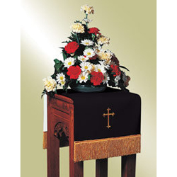 Flower Stand Cover, Black/White w/Cross