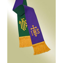 Reversible Pavillion Pulpit Stole, Purple/Hunter with IHS Symbol