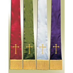 Empress Satin Pulpit Stoles, set of 4 with Cross Design