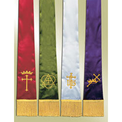 Empress Satin Pulpit Stoles, set of 4 with Symbols