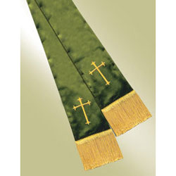 Empress Satin Pulpit Stole, forest green