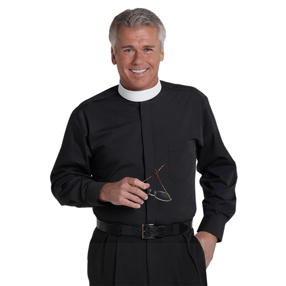 Men's Long Sleeve Banded Collar Clergy Shirt - Black