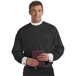 Men's Long Sleeve Banded Collar French Cuff Clergy Shirt - Black
