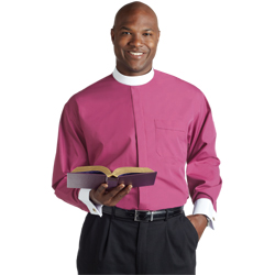 Men's Long Sleeve Banded Collar French Cuff Clergy Shirt - Fuchsia