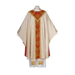 Arte Grosse Baroque 6409 Chasuble - White Red