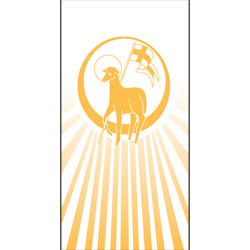 Inside Banner, small - Lamb of God,  White/Gold, small
