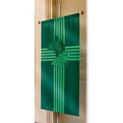 Inside Banner, small - Eucharist (wheat & grapes) - Green, small