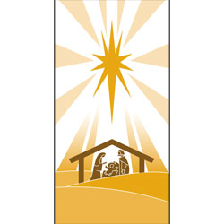 Inside Banner, small - Nativity - White/Gold, small