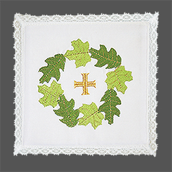 Embroidered Chalice Pall - Wreath with Gold Cross