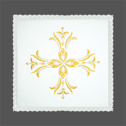Embroidered Chalice Pall - Elaborate Gold Cross
