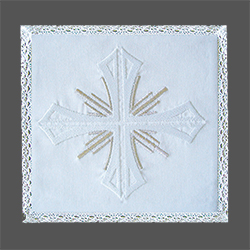 Embroidered Chalice Pall - White Cross