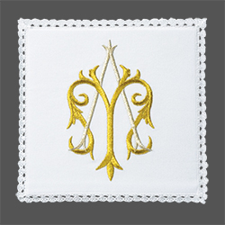 Embroidered Chalice Pall - Marian Symbol