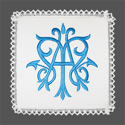 Embroidered Chalice Pall - Marial Symbol