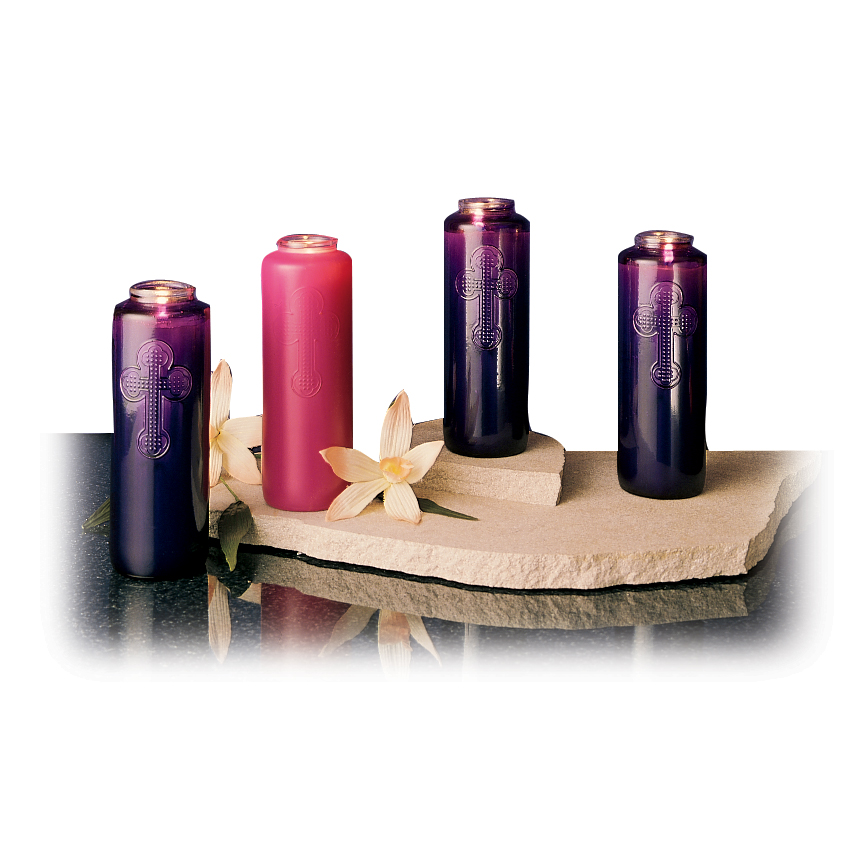 Advent Candles - 7 Day Glass - Three Purple, 1 Rose ... One Advent Candle