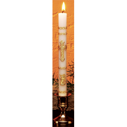 "Baptismal Candles - 3/4"" x 8-1/2"", gold leaf ornamented, case of 50"