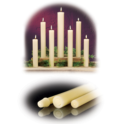 "Altar Candle - 1-1/4"" D x 25"" L - 100% Beeswax - Plain Ends - 6 per box"