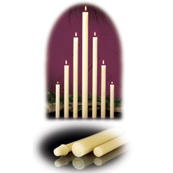 "Altar Candle - 1-1/8"" D x 31"" L - 100% Beeswax - Plain End - 6 per box"