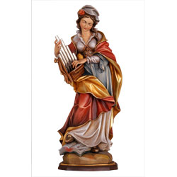 St. Cecilia Woodcarved Statue