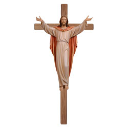Risen Christ Woodcarved Statue and Cross