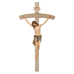 Woodcarved Siena Crucifix, bent Cross