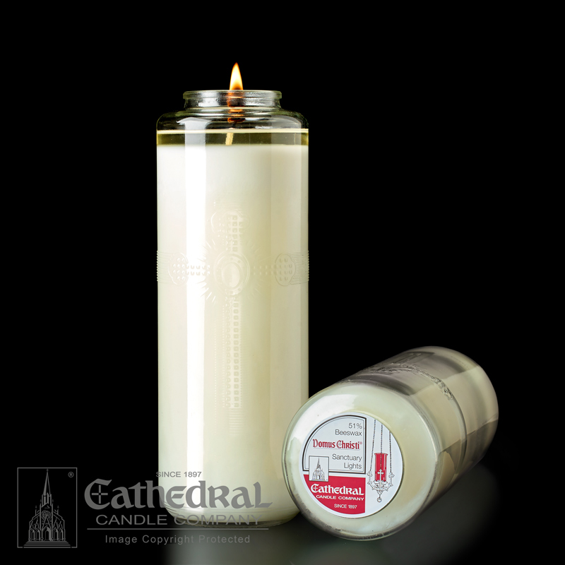 8 Day Glass Sanctuary Candle | Domus Christi | 51% Beeswax | (12 pcs. per case)