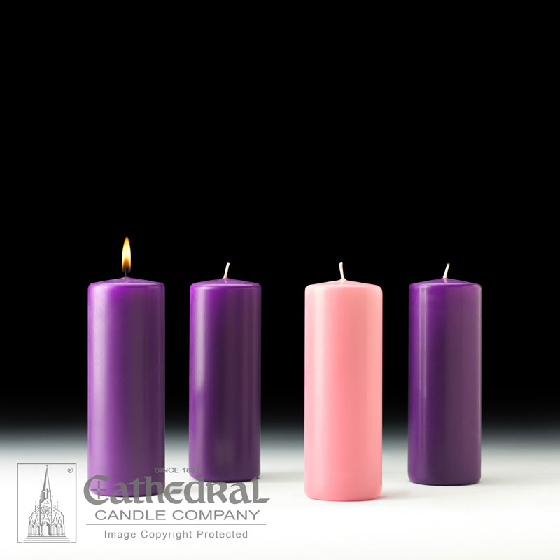 Church Advent Pillar Candles | 3 x 8 | 3 Purple, 1 Rose
