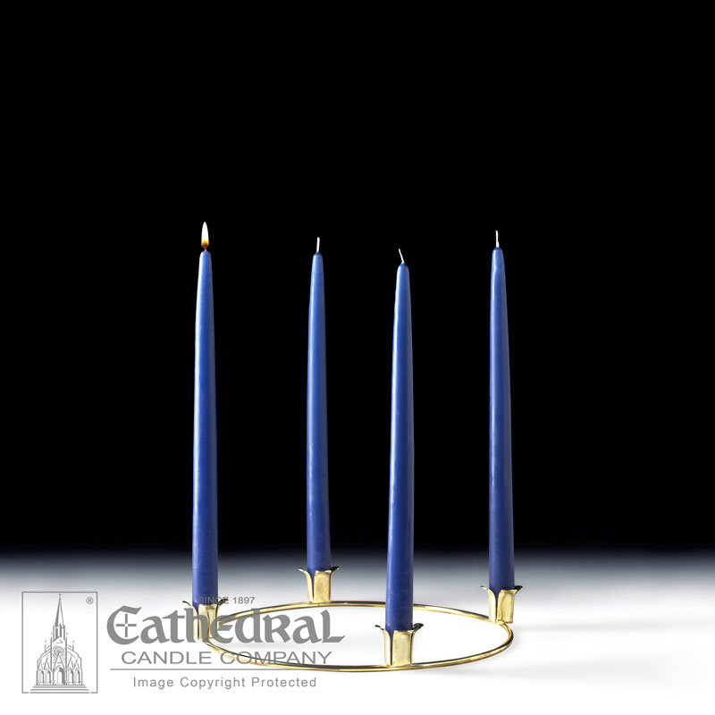 Advent Wreath and Taper Candles | 4 Blue