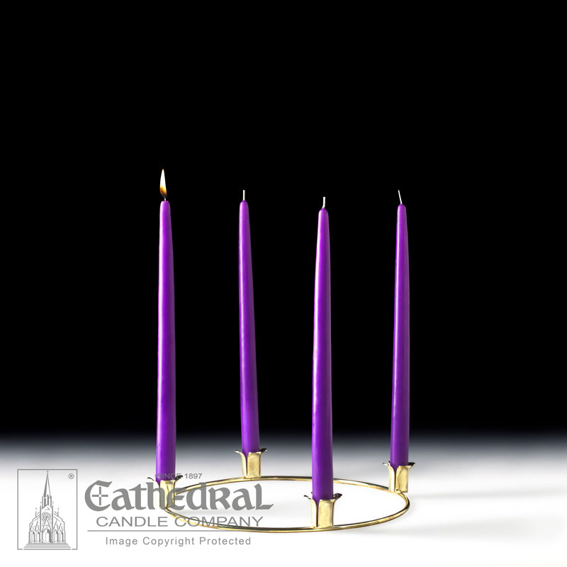 Advent Wreath and Taper Candles | 4 Purple