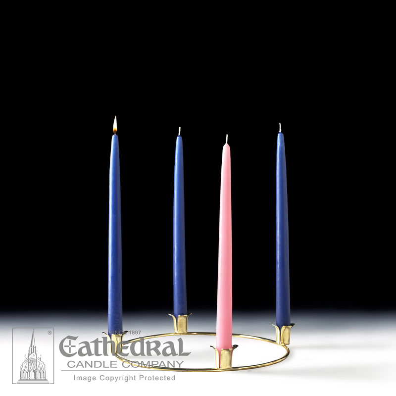 Advent Wreath and Taper Candles | 3 Blue, 1 Rose