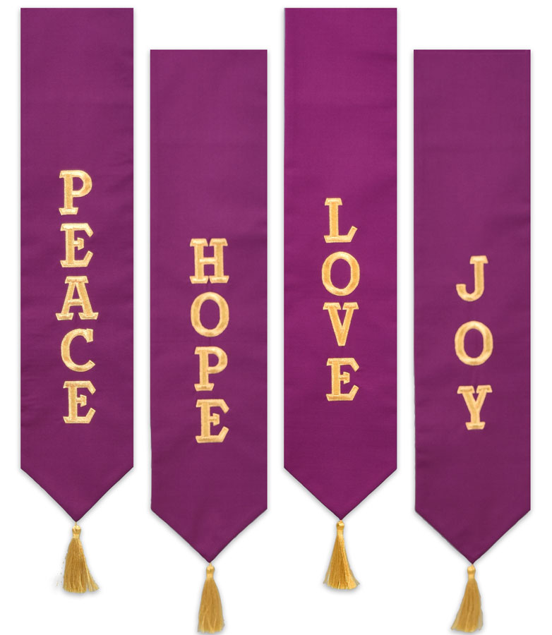 Advent Wreath Banner | Purple or Blue