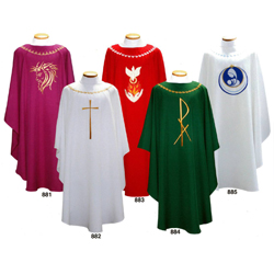 Lightweight, Richly Embroidered Chasubles