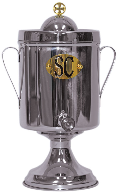 Bishop's Urn for Holy Oil | |Stainless Steel | 1 or 2 Gallon