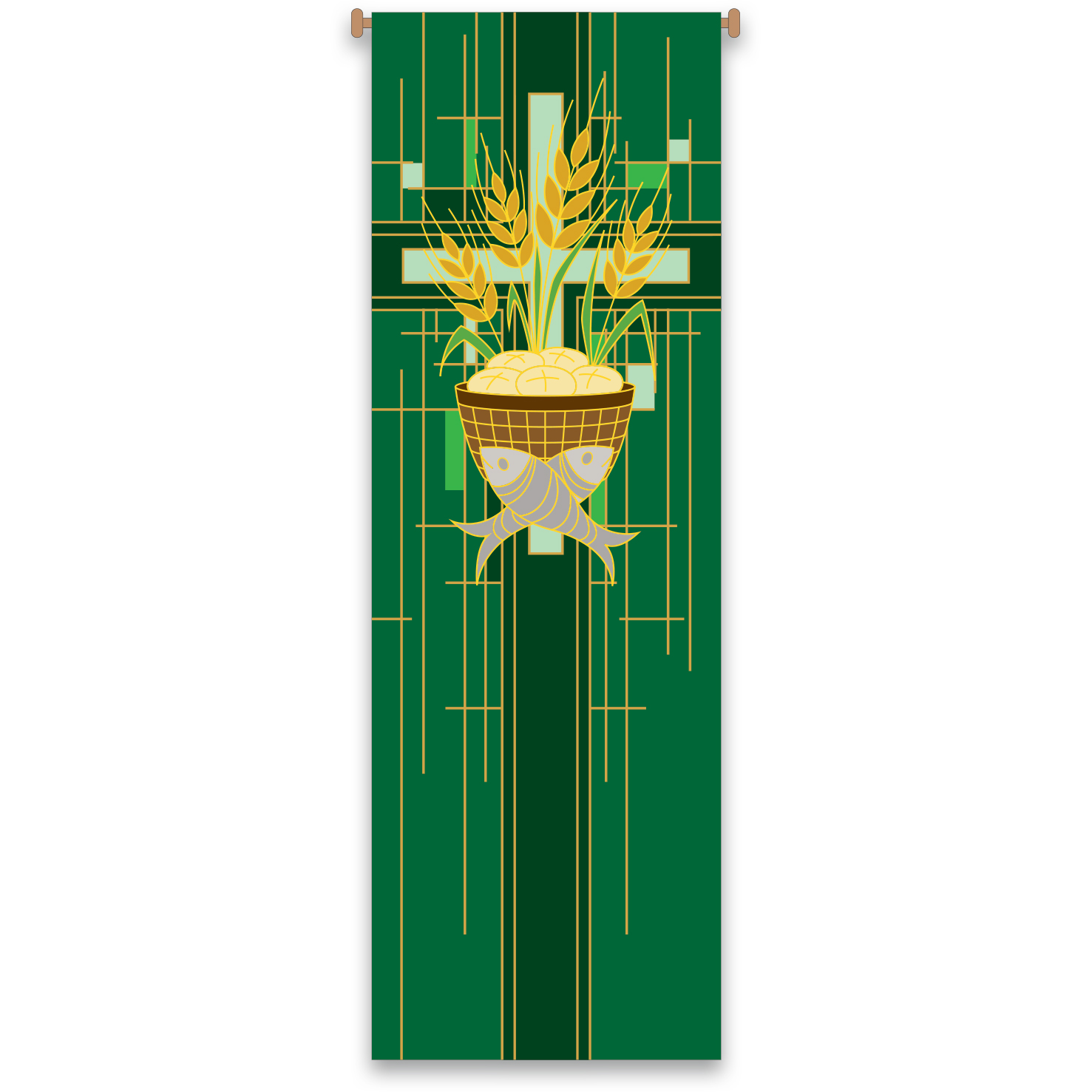 Church Banner | Loaves and Fishes | Green