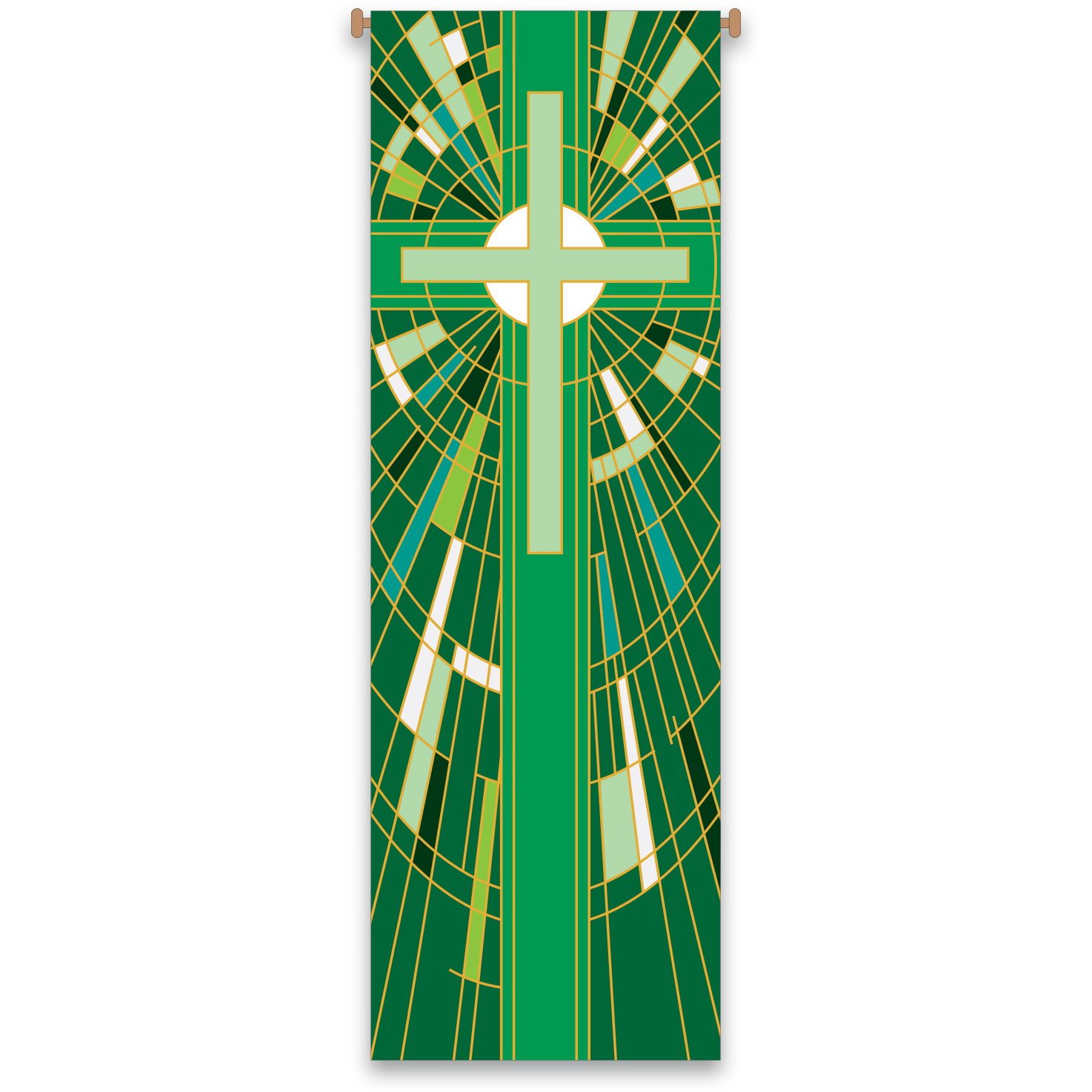 Church Banner | Green | Stained Glass Design
