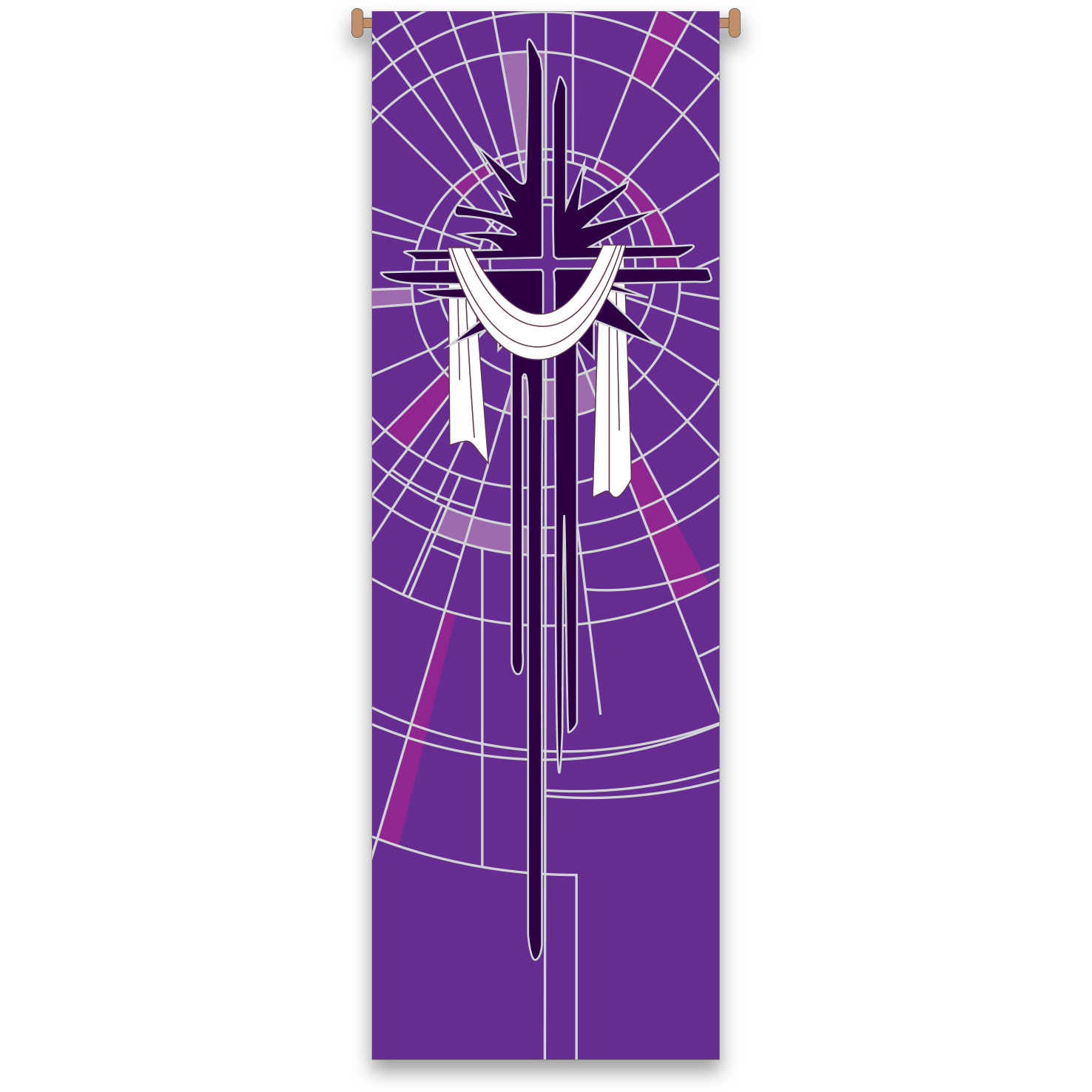 Church Banner | Shrouded Cross | Purple Lenten