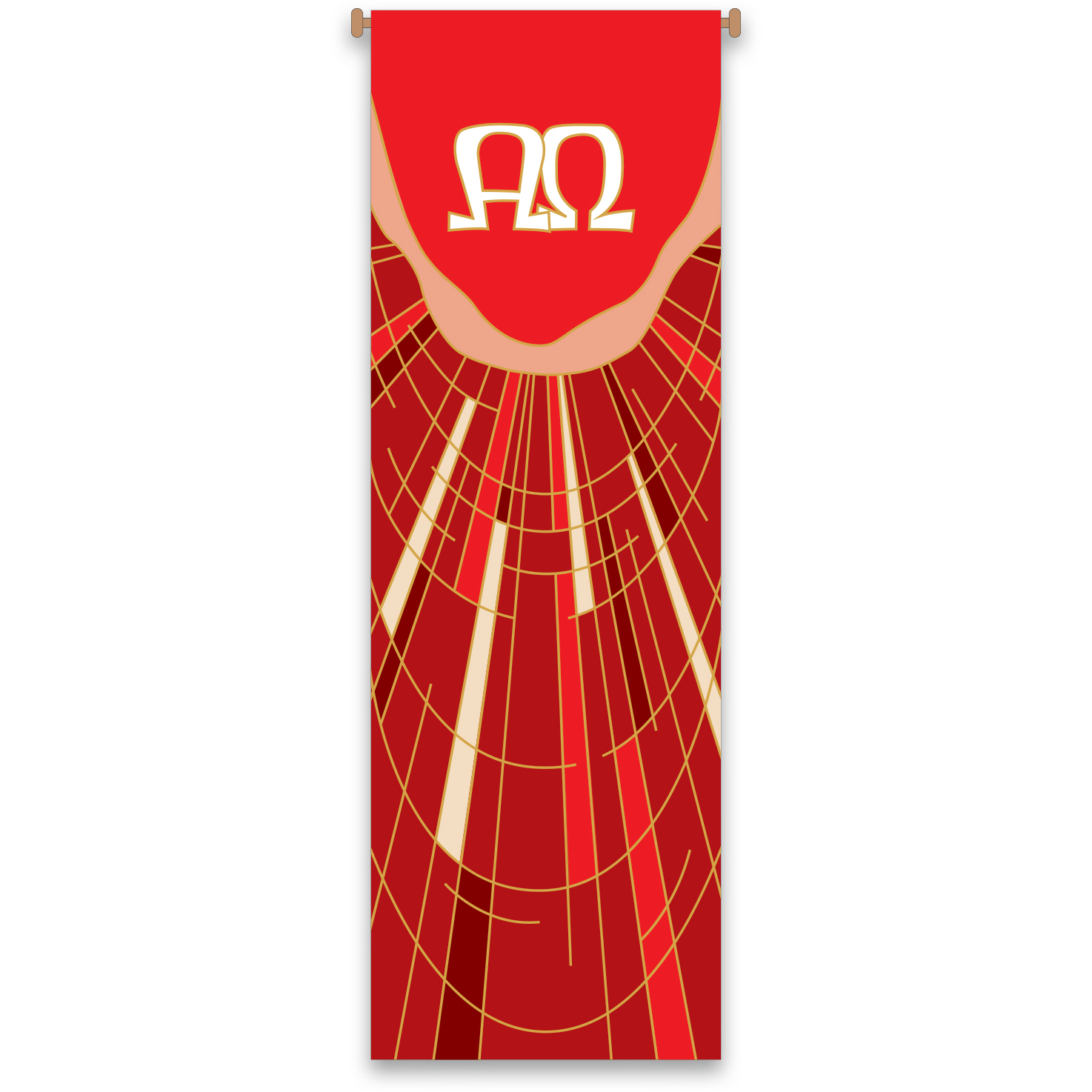 Church Banner | Alpha Omega | Red