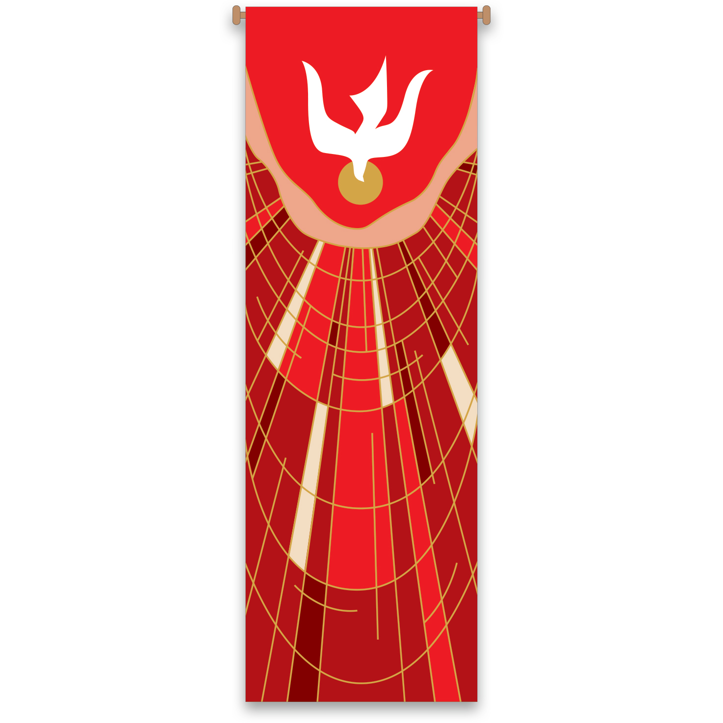 Church Banner | Descending Dove | Red