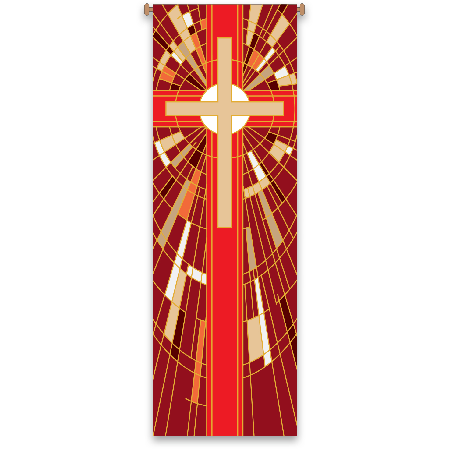 Church Banner | Red | Stained Glass Design